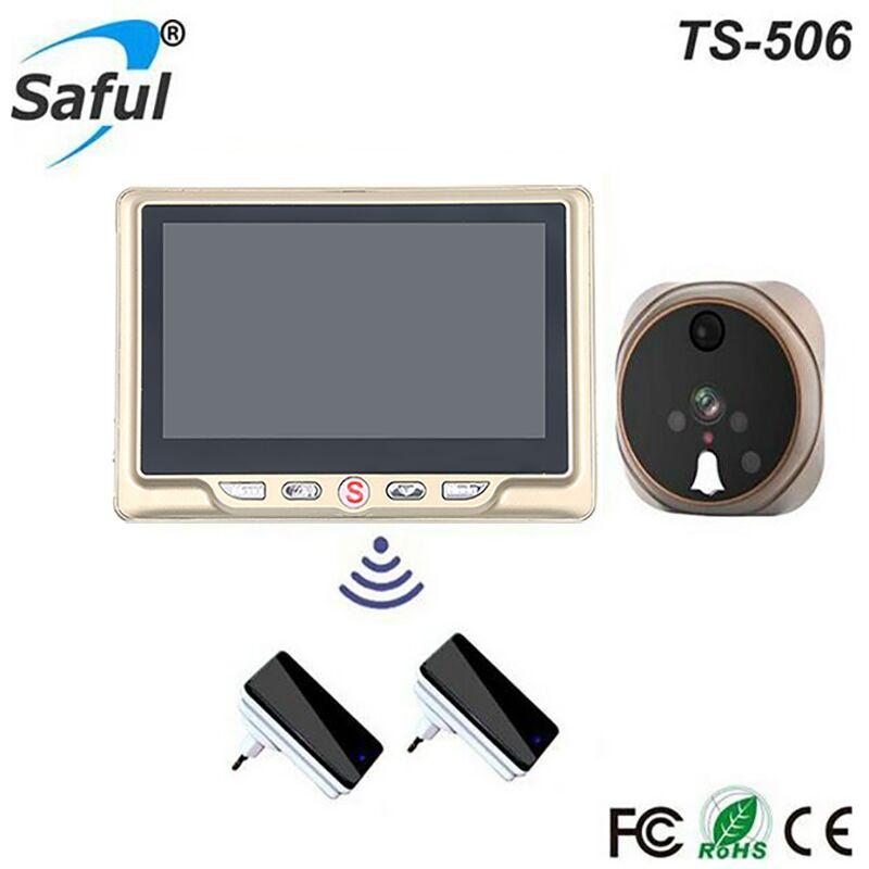 Saful 4.3 Digital Video 3X Zoom IR Wide Angle Recording Door Viewer Doorbell Peephole Camera With TF Card Free shipping удлинитель zoom ecm 3