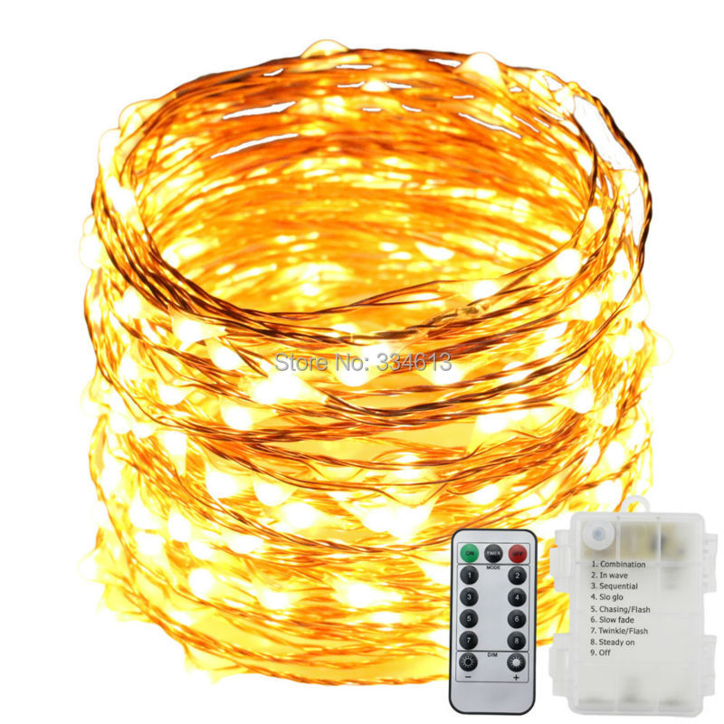 3AA Battery Powered 12M 39FT 120LED 8 Flash Mode Copper Wire LED Fairy String Lights Christmas Dimmable Lights + Remote Control