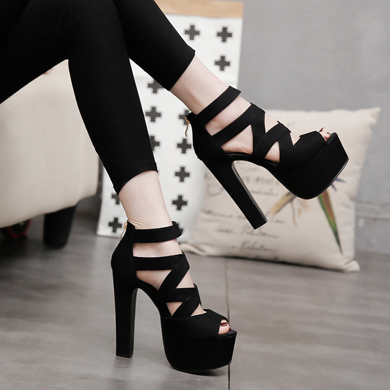 LTARTA Sandals Shoes High-Heeled Thick Nightclub 15CM Fashion Summer Spring with Fish