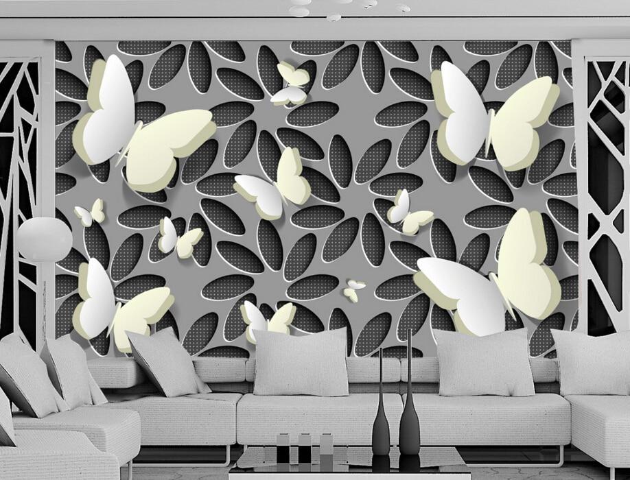 Custom floral wallpaper,3D stereoscopic flower butterfly,3D photo mural for living room bedroom TV backdrop embossed wallpaper custom 3d photo wallpaper 3d stereoscopic green forest mural for living room bedroom tv backdrop waterproof papel de parede