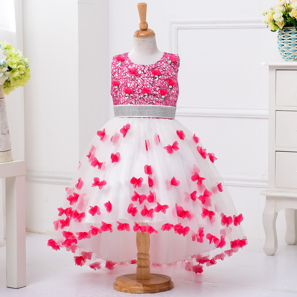 2018 new Petal Princess bubble grenadine Colourful Flower girl dresses Birthday children age size 3t 6 7 8 9 10 11 12 13 14 15 y