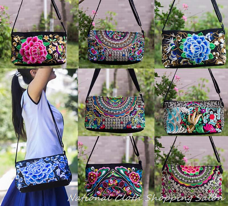 Yunnan National Hmong embroidery Bags Double-sided embroidered shoulder Messenger bag canvas Small Crossbody Clutch handbag