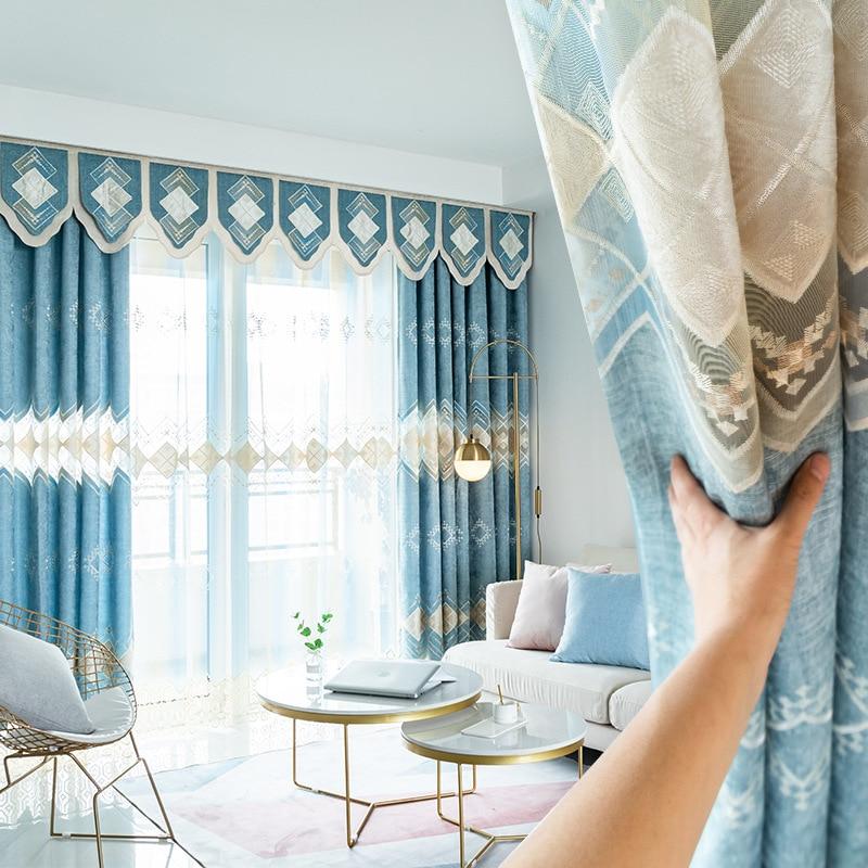 Custom Curtains Modern Livingroom Chenille Cotton Blue Diamond Lattice Bedroom Blackout Curtain Tulle Valance Drape M700