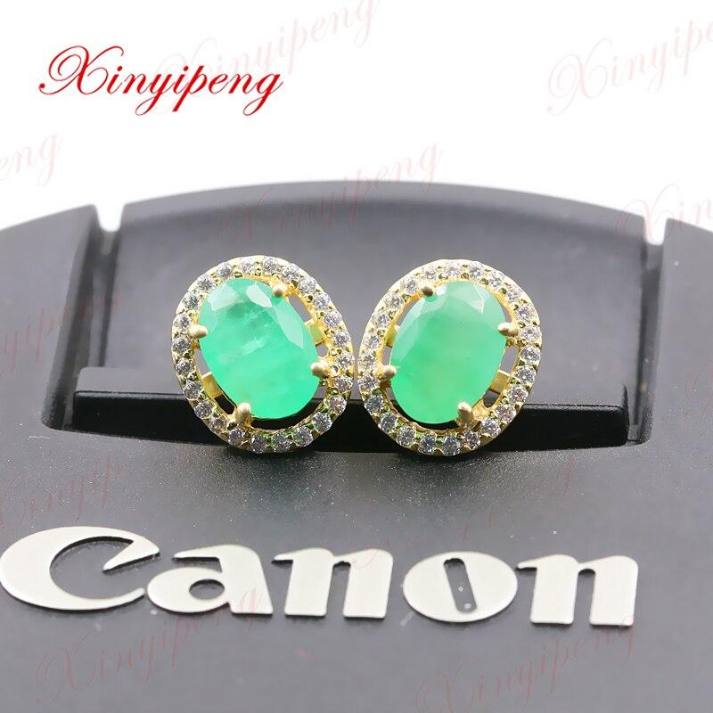 цена на Xinyipeng18K yellow gold inlaid natural emerald earrings style beautiful women model