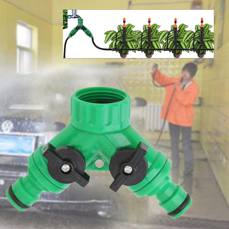 2-Way Adapter Y Tap Connector Tap Fitting Irrigation Garden Watering Tool