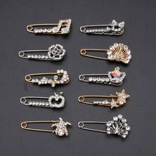 Sparking Crystal vintage brooch Safety Pin Brooches For Women Suit Sweater Scarves Brooch Charm Jewelry Accessories wing sweater guard brooch