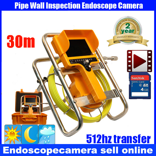 30M/100ft Cable 512HzTransmitter Underwater Duct Cleaning Tube Pipe Inspection Camera Drain Waterproof Pipe Sewer Camera image