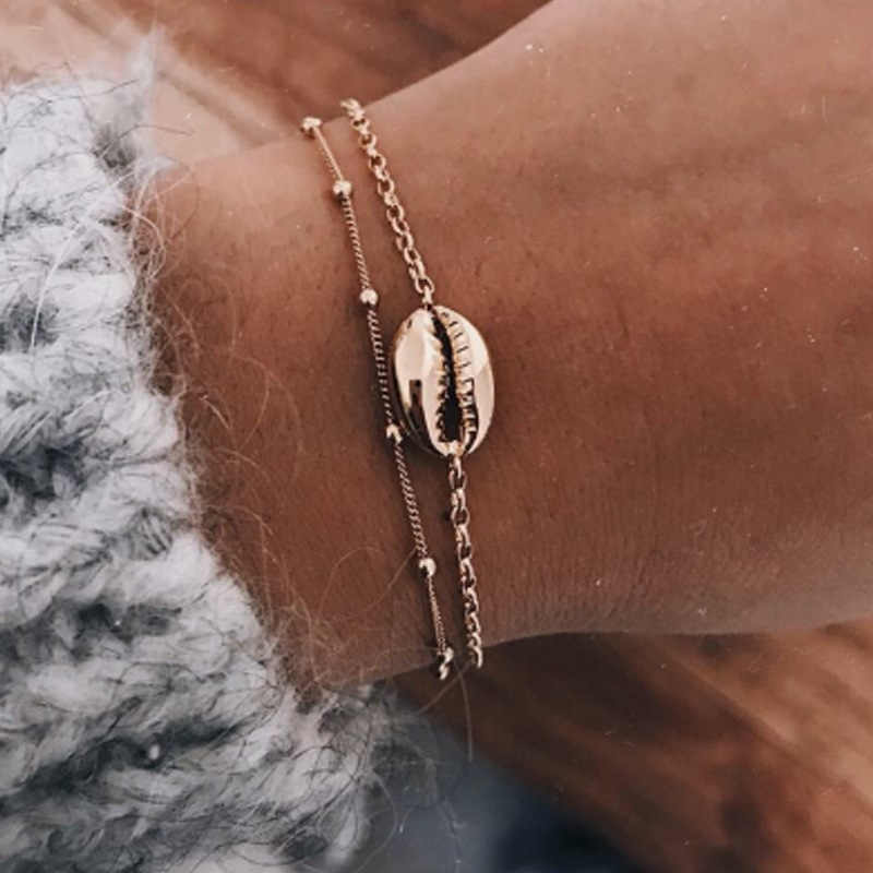 Fashion Kristal Mutiara Shell Perhiasan Set untuk Wanita 2019 Shell Gelang Mutiara Anting-Anting Kalung Laporan Shell Perhiasan Ne + EA