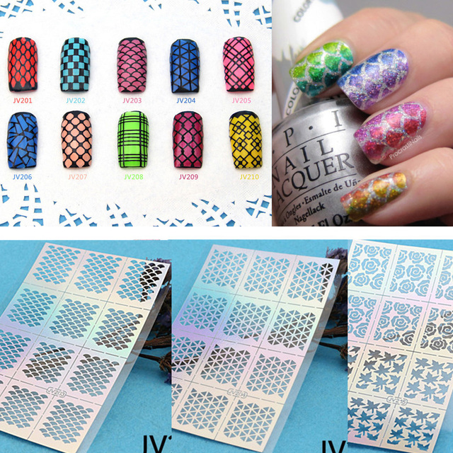 Multiple Use Stamping Tool Nail Art Hollow Laser Silver Template ...