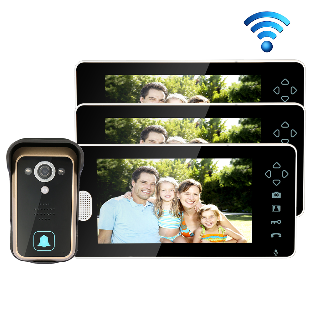 Free Shipping 2.4G Wireless 7 Touch Color TFT LCD Video Door Phone Intercom System 1 Outdoor Doorbell Camera 3 Screen In Stock free shipping new handheld 4 3 inch color tft video door phone doorbell intercom night vision door bell camera 2 screen in stock