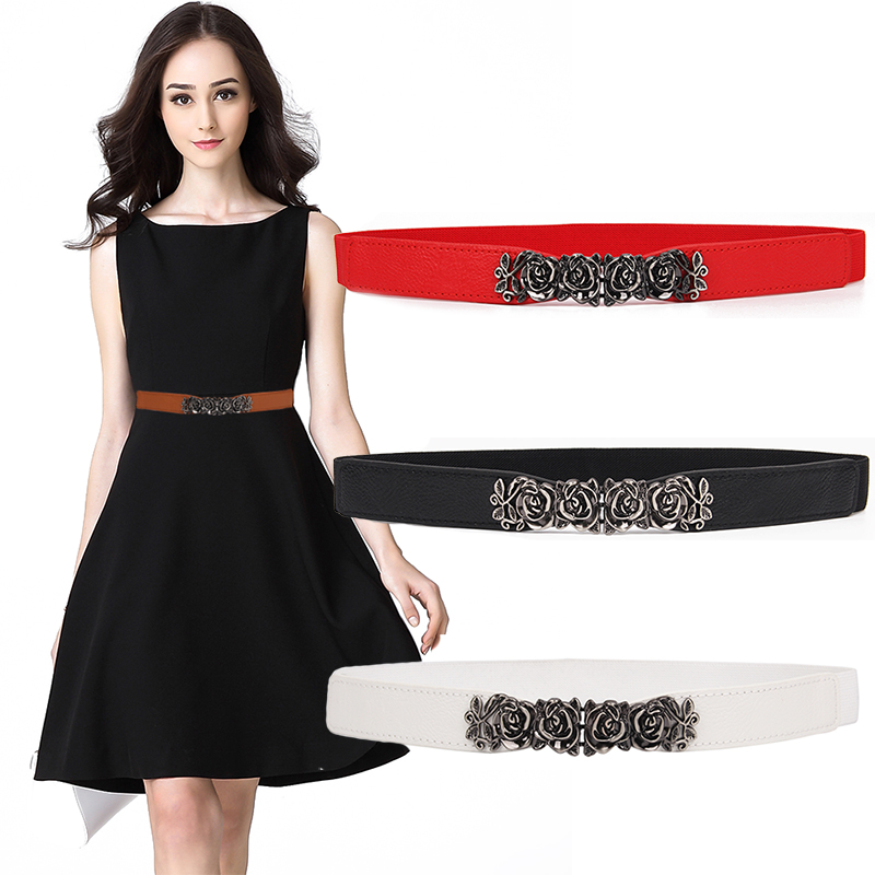 Hot Sale New Waistabnds Women Thin Belt New Fashion Elastic Cummerbund Vintage Rose Flower Cummerbunds Alloy Buckle Dress Casual