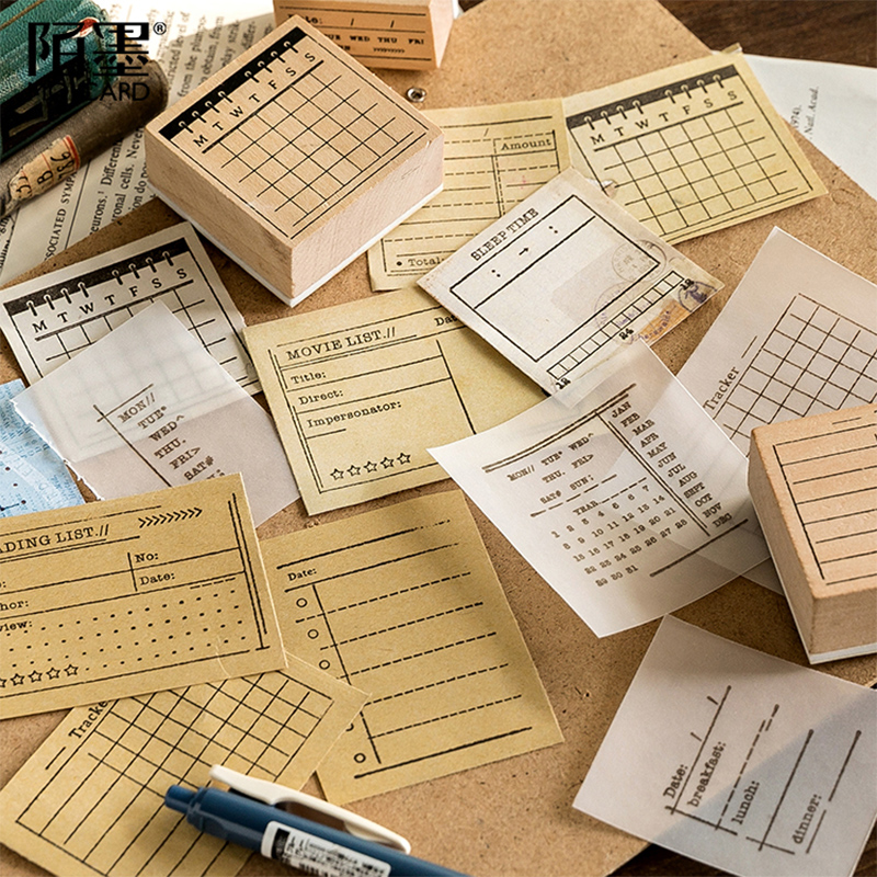 1 Pcs/Lot Vintage Multi-function Form Stamp DIY Wooden Rubber Stamps For Scrapbooking Stationery Scrapbooking Standard Stamp