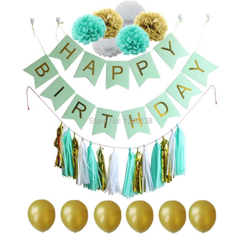 Azul blanco y oro papel de seda de la borla Garland Pompoms Fiesta - Para fiestas y celebraciones - foto 3
