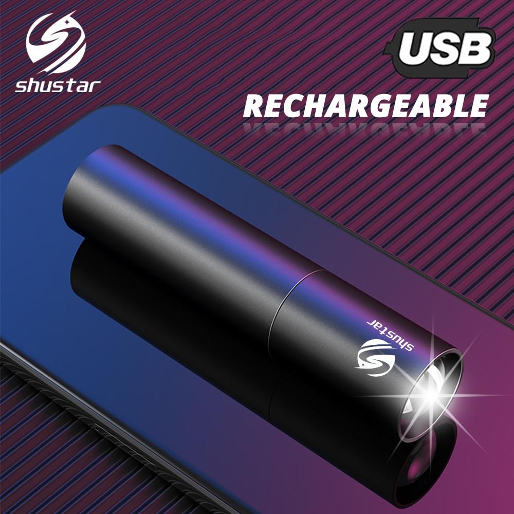 Puissant lampe de poche LED rechargeable torche longue portée Super lumineux petite lumière de secours peut être utilisé comme batterie externe