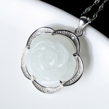 S925 Silver Jewelry Natural Jade Rose Pendant Necklace Drop Shipping Chinese Style Hand-carved Lucky Amulet Gift