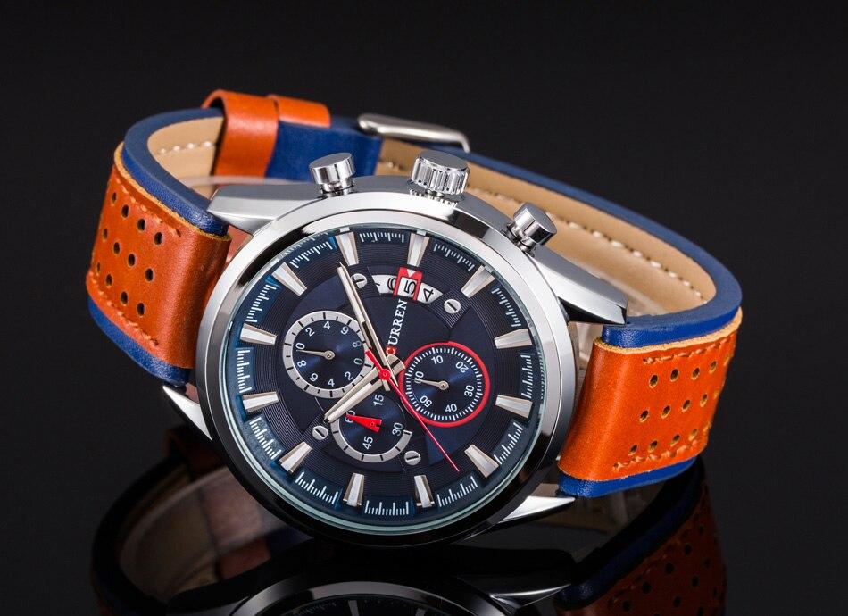 Image 3 - Curren relógios masculinos marca superior relógio de luxo dos  homens militar couro esportes relógios à prova dwaterproof água quartzo  relógios de pulso masculinoclock brandclocks maleclock waterproof -