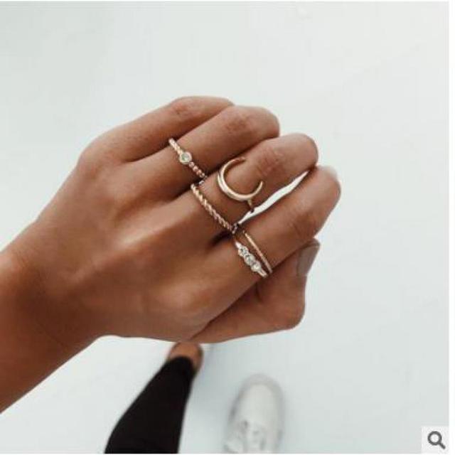 2018 new fashion jewelry popular sweet lovely rhinestone moon finger ring set gift for women girl