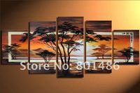 Handmade huge canvas african landscape painting sun trees oil painting scenery Wall Art for Living Room Bedroom Home Decoration
