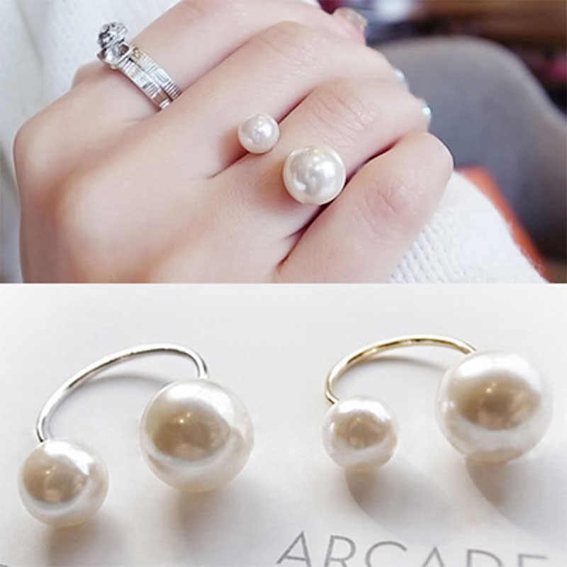 Women Girls Simulated Imitation Pearl Opening Adjustable Rings Gold Silver Charm Midi Knuckle Mid Finger Ring Fashion Jewelry
