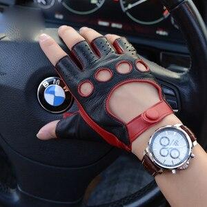 Image 4 - עור כפפות סגנון חדש אביב קיץ זכר חצי אצבע כפפות קטר אופנה לנשימה קמטים איש של נהיגה כפפות M 52