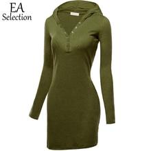 Новые Модные трикотажные Осень Одежда Для женщин Повседневное Твердые эластичный с капюшоном на Длина Платья для женщин Для женщин Slim Fit v-образным вырезом платье