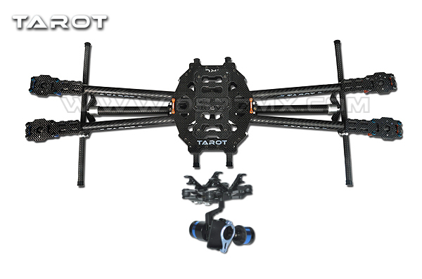 Tarot FY650 IRON MAN 650 Quadcopter Carbon Fiber Tubes Multicopter Frame-TL65B02 w/Gopro 2 aixs gimbal w/ gyroscope TL68A00