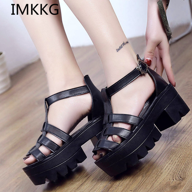75d3645e18e IMKKG 2017 New Fashion Korean Style Women Platform Shoes Gladiator Woman  Sandals Summer Hollow Out Weave