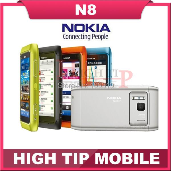 "Nokia N8 teléfono móvil Abierto original 3G GSM WIFI GPS 12MP Con Pantalla Táctil de 3.5 ""16 GB Interna envío gratis reformado"