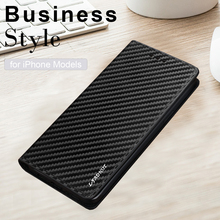 LLZ.COQUE Carbon Fiber Flip Wallet Phone Case For iPhone 7 Plus 8 6S 6 5 5S SE Luxury Leather Cover For iPhone X Xr Xs Max Black black cover japanese samurai for iphone x xr xs max for iphone 8 7 6 6s plus 5s 5 se super bright glossy phone case