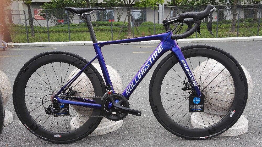 Pierre roulante CX vélo de route Cyclocross 48 cm avec Reynolds Strike slg jeu de roues à disque bleu caméléon peinture