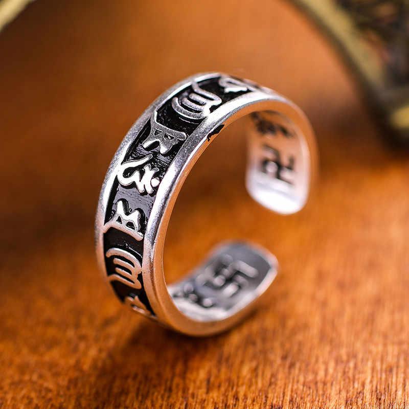Budista seis-palavra mantra Anel Bague Anéis Anel Runas Viking Homens Jóias anel antigo