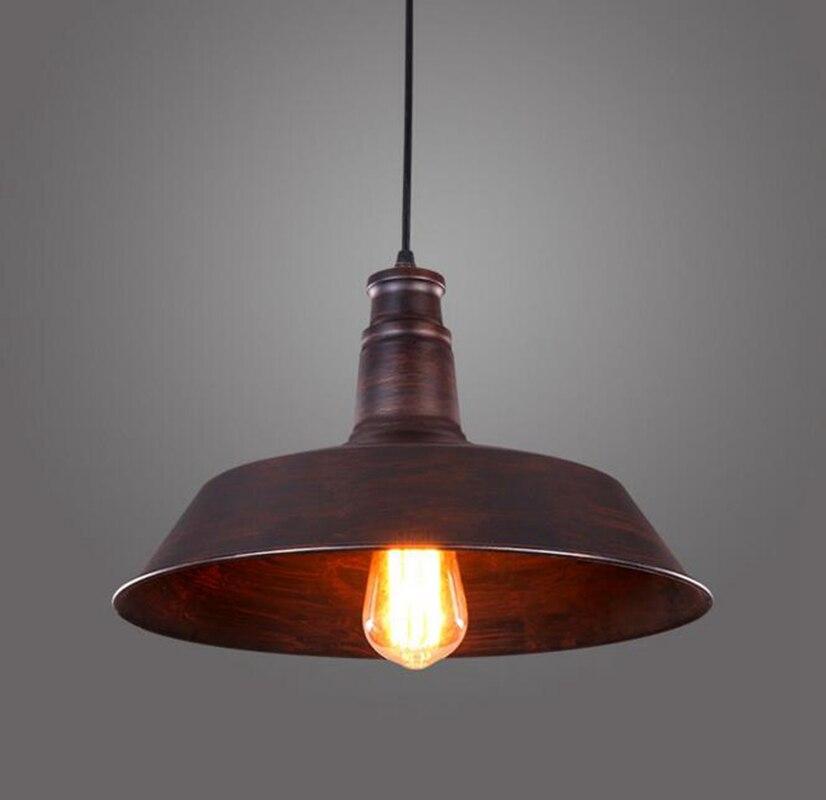 LukLoy Pendant Light Lamp Shade, Metal Industrial Lighting Retro for Kitchen Barn Dinning Room Decor, E27 Rust Iron Finish