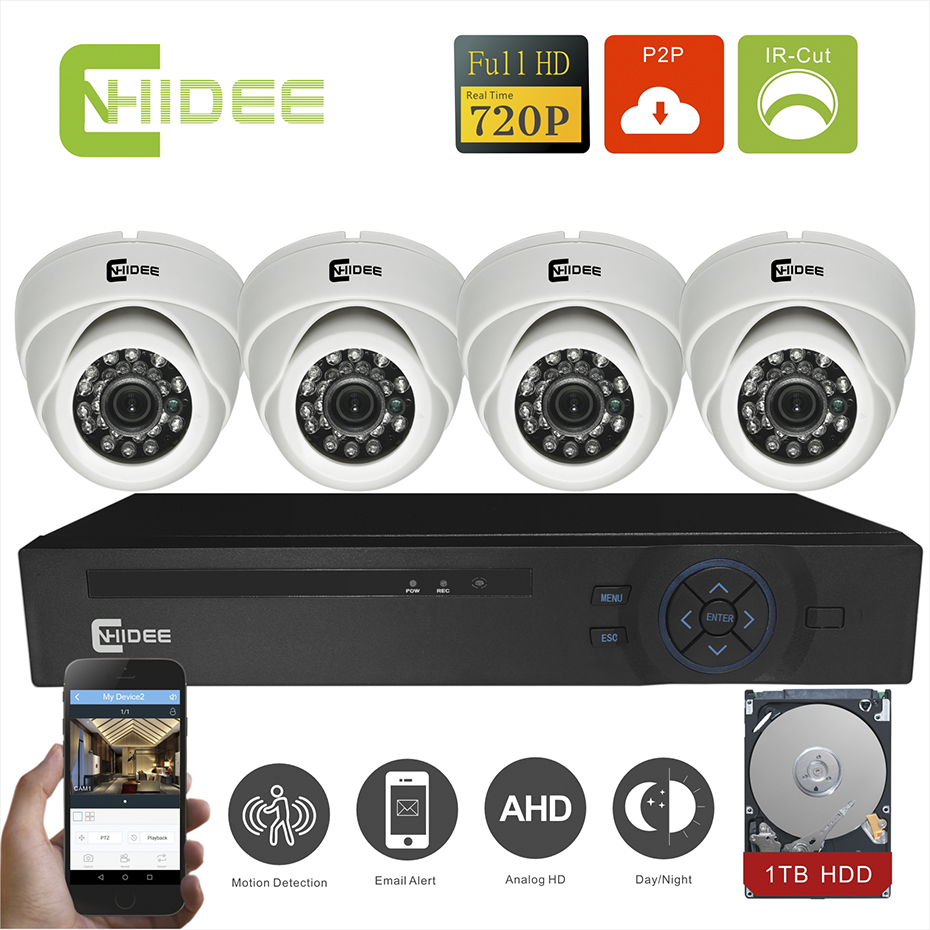 CNHIDEE 8CH Surveillance System KIT1200TVL CCTV System 1.0MP 720p AHD DVR Camera IR CCTV Camera System Outdoor Dome With 1T HDD  cnhidee home security camera system nightvision ahd 8ch 720p ir 1200tvl dvr hd kit video surveillance system 8ch outdoor kit set