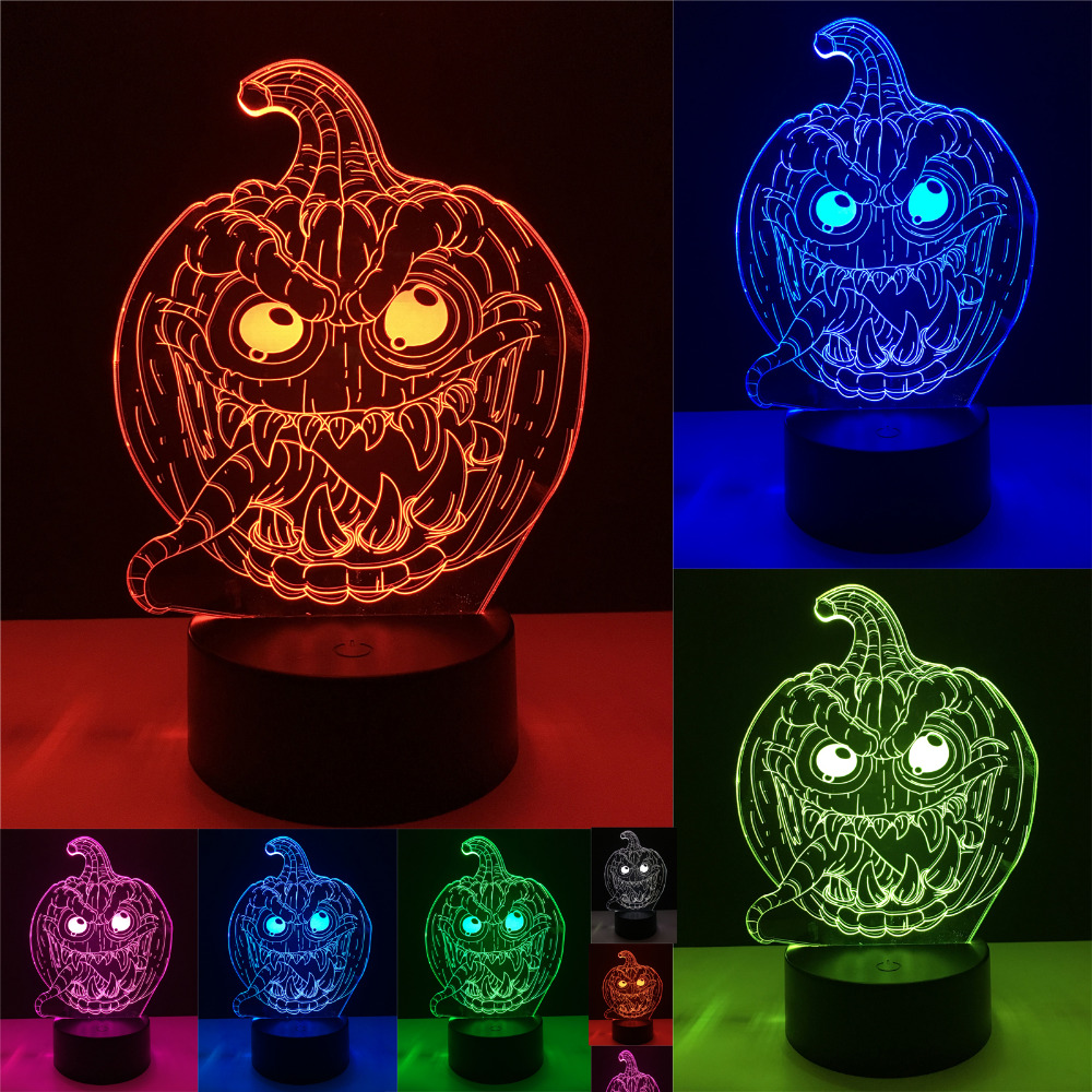 Halloween Pumpkin Smile Face 3D Stereo Vision 7 Color Change Baby Sleeping Night Light Haunted House Party Illusion Xmas Gifts