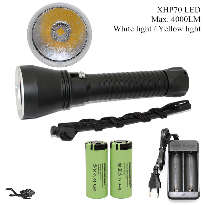 Super Brightness XHP70 LED Yellow / White Light 5000 Lumens Diving Flashlight Tactical 26650 Torch Underwater 100M Waterproof scuba dive light
