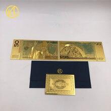 10 pçs/lote 50 ZLOTY POLAND NOTAS DE OURO O PAPA JOÃO PAULO II Para a coleta de 999 de Ouro. POLÍMERO Frete grátis