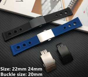 Black blue 22mm 24mm Silicone Rubber Watch band WatchBand Bracelet For navitimer/avenger/Breitling strap butterfly buckle tools