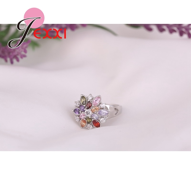 Girls Bling Jewelry Finger Accessories Fashion 925 Sterling Silver Colorized Flower Shape Rings Wholesale 2