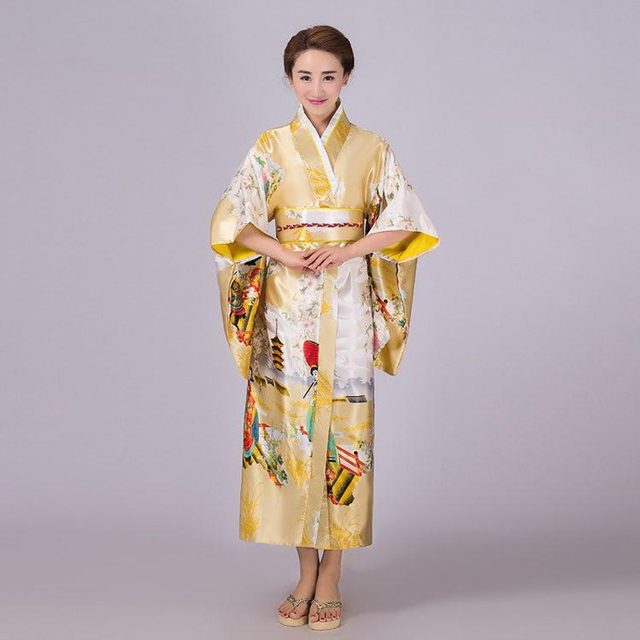 Gold Japanese Lady Traditional Silk Kimono Gown Yukata With Obi ...