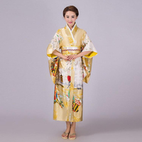 Gold Japanese Lady Traditional Silk Kimono Gown Yukata With Obi Vintage Evening Dress Stage Performance Dress One Size NK009