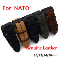 1PCS High Quality Nato 20mm 22mm 24mm 26mm Strap Genuine Leather Watch Band For NATO Watch