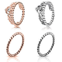 Silver Color Ring Charms Gold Rose Gold 13 Style Diy Crown Crystal Finger Ring For Women 925 Jewelry Gift(China)