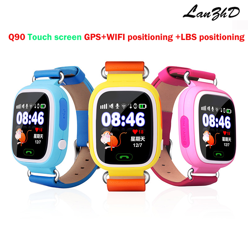 Colorful touch screen kids gps Tracker GPS Kid Positioning WIFI smart watch Q90 SOS font b