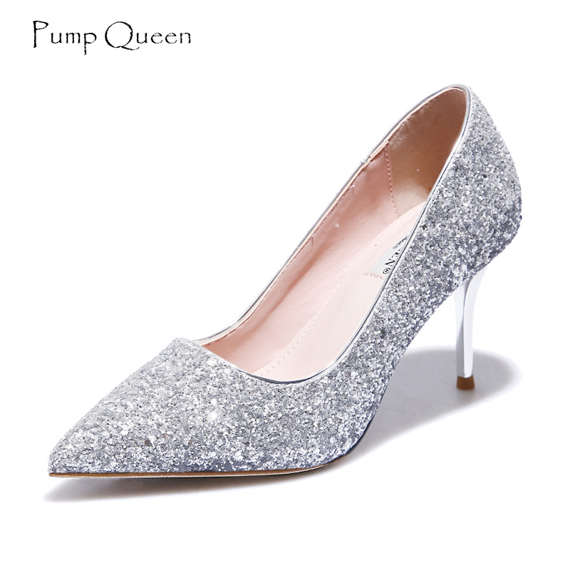 PumpQueen Women Pumps New Autumn Shoes Thin High Heels Elegant Silver Bridesmaid Wedding Pointed Toe Sexy Party Shoes Woman women silver high heels wedding shoes elegant rhinestone thin heel 10cm 8 5cm patent leather sexy pumps elegant sexy shoes