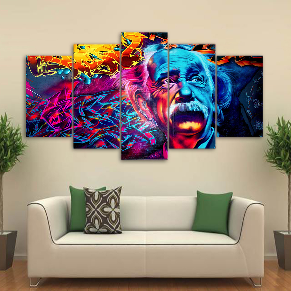 Abstract Einstein Painting Psychedelic Color Modern