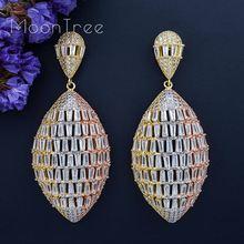 MoonTree 3 Tone Luxury Geometry Full Mirco Paved Cubic Zirconia Naija Wedding Earring Fashion Jewelry For Women цена в Москве и Питере