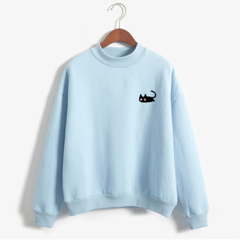 2019 Autumn Casual Harajuku Kawaii Black Cat Sweatshirts Women Long Sleeve Turtleneck Tops Pullover Funny Cartoon Print Hoodies 1