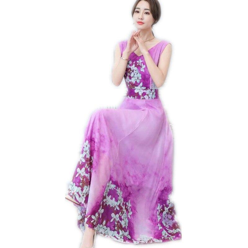Summer Women X Long Chiffon Dress 2019 Fashion Print Bohemian Women Empire V Neck Dress Plus Size 3XL Sweet Women Dress Top Q110