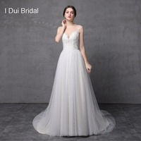 Illusion Tulle Lace Neckline Crystal Beaded Tulle Lace Layer Fairy Wedding Dresses Real Photo 2016 New