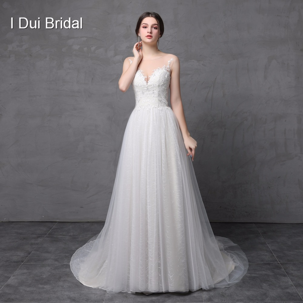 Gaun Pengantin Melinda Foto Asli Tulle Renda Appliqued Crystal Beaded Illusion Neck Sebuah line Bridal Gown ELS-017